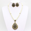 Vintage Flower Imitation Pearl Jewelry Sets Antique Gold Color Beaded Necklace&Earrings Rhinestone Jewelry India Wedding Bijoux