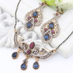 Vintage Turkish Women Resin Flower Jewelry Sets Hook Drop Earring Vines Necklace Antique Gold Color Arabia Bridal Retro Jewelry