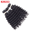 Allrun Deep Wave Brazilian Hair 3 Bundles Brazilian Deep Wave Virgin Hair Brazilian Curly Weave Human Hair Bundles 100g per Bundle