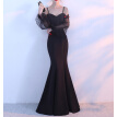 Kalinnu Sexy Illusion Bodice Evening Dress Mermaid   Low Back Long Sleeve Prom Party Gown Robe de