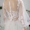 Simple Light Hand Made Embroidery Juliet Sleeves V Neck A Line Wedding Dress