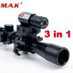 4x20 Rifle Optics Scope Tactical Crossbow Riflescope with Red Dot Laser Sight and 11mm Rail Mounts for 22 Caliber Guns Hunting A