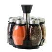 6pcs/set rotating spice rack salt and pepper cruet condiment set glass jars mason jar seasoning shelf bottle cooking tools