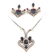 Vintage Turkish Women Heart Necklace Flower Earring Jewelry Sets Antique Color Tulip Flower Pendant Necklace Adjustable Earrings