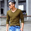 Men's Wear Fashion V-collar T-shirts Youth Casual Long Sleeves Tops Male Comfortable Cotton Bottoming Shirts
