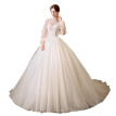 Long Sleeves Coat Strapless Lace Up Pearl Sweep Train Ball Gown Wedding Dress