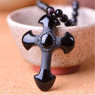 Natural Crystal Black Gold Obsidian Cross Pendant Male Lady Couple Necklace Christian Jesus Jewelry Gift