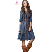 S M L chest 90-98cm vintage cotton summer 2018 blue jeans denim long dress women half sleeve mid calf embroidery casual v neck