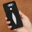 Genuine Leather Phone Case For LG G3 G4 G5 G6 Case Natural Pearl Fish Skin Back Cover