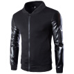 Zogaa Men's Jacket Spell Leather Sleeve