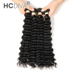 HCDIVA Indian Unprocessed Virgin Human Hair Deep Wave Frontal Closure with 4 Bundle Hair Good Quality Natural Black No Shedding