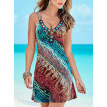 Bigood Women Ladies Boho Colorful Print V Neck Sleeveless Mini Bodycon Dress