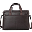 American bison men's briefcase cross section handbag first layer leather business casual men's bag N2237-3C coffee color