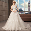 Lace Embroidery Beads Zipper Sexy Modern A Line Wedding Gown