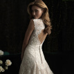V Neck Embroidery Lace Vintage Fishtail Wedding Gown