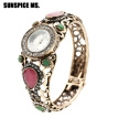 SUNSPICE MS Vintage Indian Bangle Watch Resin Round Bracelet Jewelry Antique Gold Color Cuff Turkish Women Ethnic Festival Gift