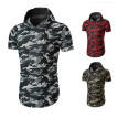 Summer Men's Fashion Short Sleeved Camouflage Casual T-shirt Male Hooded Cotton T-shirts Tops