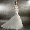 Lace Tiers Hand Made Beading Splice Train Strapless Mermaid Wedding Dress