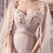 3D-Floral Appliques Pearls Sash Cowl Backs Wave Details Slim Lace A Line Wedding Gown
