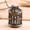 Cute Bird Cage Retro Quartz Pocket Watch Necklace Pendant Chain Lady Gift