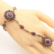 Vintage Turkish Adjust Bracelet Ring Jewelry Sets Women Antique Gold Color Resin Flower Bracelet Festival Party Bride Jewelry