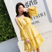 New 2018 Summer Beach Holiday Chiffon Dresses Long Flare Sleeved Yellow Slim Hollow Out Shoulder Sling V-neck Ruffled Dress