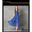 S M L High Quality chest 84 - 92cm vintage cotton new summer 2018 blue lace long dress women sleeveless denim maxi ankle length