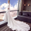 Embroidery Illusion Poet Sleeves Lace Mermaid Fishtail Wedding Gown