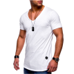 Men's Fashion Slim Fit T Shirt Male Cotton Tops Mens Solid Color Casual Tshirt Short Sleeevs V-neck Sports Tee Shirts Men Clothing