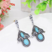 Vintage Turkish Women Resin Hollow Flower Long Drop Earrings Antique Silver Color Green Ethnic Indian Bohemia Bridal Jewelry