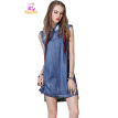 M L High Quality chest 88-92cm cotton casual summer 2018 blue mini vintage women dress sleeveless jeans denim print loose lady