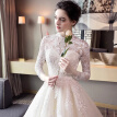 Long Lace Sleeves Bling Ball Gown Wedding Dress