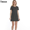 Timeson New Summer Dresses Short Sleeve Knitted Split T Shirt Dress Big Hem Female Casual Stretch Mini Dresses Black White Tunic