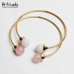 Artilady new natural stone cuff bracelets set fashion jewelry for women