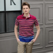 INTERIGHT cotton POLO shirt men's T-shirt loop color strip short sleeve red and blue strip XXL