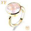 YY Fine Jewelry Sterling Silver 925 Golden Swarovski Pink Rose Quartz Party Engagement Woman Round Luxury Exquisite Ring gift