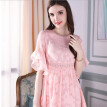 New style 2018 slim jacquard fabric with fine lace ruffle sleeve a-line dress pink