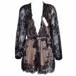 SAKAZY New Fashion Loose Sequin Dress Tassel Women Sexy Dress Party Women Dresses Long-sleeved Lace Deep V Summer Dress