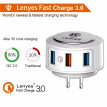 3 in 1 Wall Charger Fast Charge 3.0 Multi Port 4.0A USB Charger adapter Portable with Type C iphone Android Fast Charging Cable