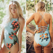 Flower Print One Piece Swimsuit Swimsuit Plus Size Women Vintage Lengthen the Body Classical Women Swimwear