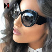 SHAUNA Big Frame Women Cat Eye Sunglasses Snake Skin Color Gradient Sun Glasses UV400