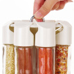 Rotary salt and pepper cruet condiment set bbq seasoning bottle rack condimentos containers for spices cooking tools