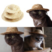 Letskeep Sun protection Straw Pets Dog Hat hand made Puppy Caps Classic Adjustable Farmer Hat for Chihuahua Puppies, S/M/L