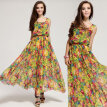 Summer Women's Vintage Style Chiffon Floral Sleeveless Long Maxi Evening Cocktail Party Dress