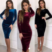 Women's Velvet Bandage Long Sleeve Evening Party Dress Cocktail  Party Dress