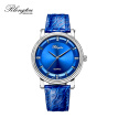 RlongTou Wrist watch men Enchanting blue series 105M-P-A Steel colored blue surface drilled belt