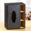 Yapi Shi leather square multi-purpose tissue box tray creative home napkins pumping box desktop coffee table remote control storage box black grid