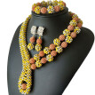 Fashion African Beads Jewelry Set Yellow And Silver Braided Ball Party Accessories Jewelry Nigerian Wedding Collar Necklace Set
