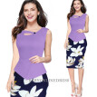 Womens Dresses Summer Fake two pieces Elegant O-Neck Casual Office Wear Business Party Sheath Work Pencil Dress