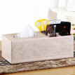 Yapi Shi leather strip multi-purpose tissue box box carton napkins simple living room coffee table home remote control storage box paper pumping box gold embroidery